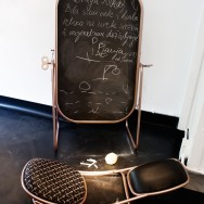 'summertime table' transforms into a blackboard or full length vanity mirror (folded 'summertime chair' in the foreground)