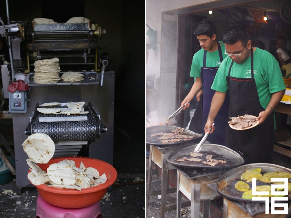 Left: traditional tortillero, tortilla making machine machine. Right: grilling cecina at La Parroquia