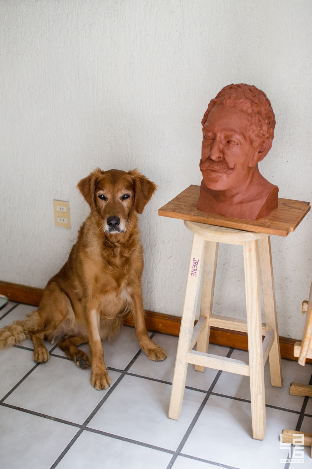 Our dog Zlatka sitting next to a clay portrait sculpture of my father in law, created by my mother in law.