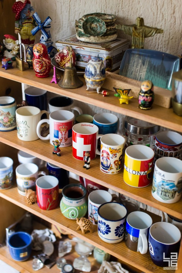 Mug collection from almost every town they visited.