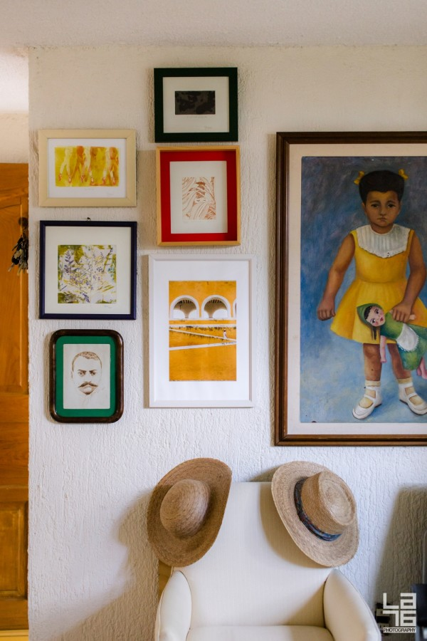 Left and middle column three paintings by my mother in law Irene Diez Perez. In the middle my photograph of Mariano in Izamal. Left Irene painted by her sister Rosa Diaz.